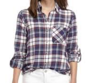 Polly & Esther Juniors' Plaid Roll-Tab Shirt, Ivory Plaid, Medium