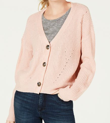 Ultra Flirt Juniors' Cropped Button-Front Cardigan, Pinksilver, X-Large