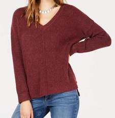 Hippie Rose Juniors' Mossy Ribbed-Knit V-neck Sweater, Dark Cherry, Small