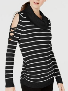 Hooked Up by IOT Juniors' Striped Cowlneck Cold-Shoulder Sweater, Black/White, Small
