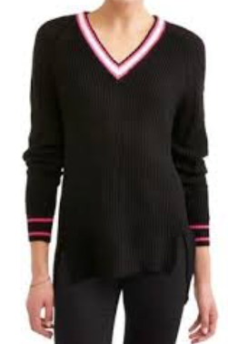 No Comment Junior' Slouchy V-Neck Raglan Tunic Sweater, Black, X-Large