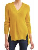 No Comment Junior' Slouchy V-Neck Raglan Tunic Sweater, Spicy Mustard, Large