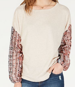 Gypsies & Moondust Juniors' Waffle-Knit Sheer-Sleeve Top, Oatmeal/Mauve, X-Large