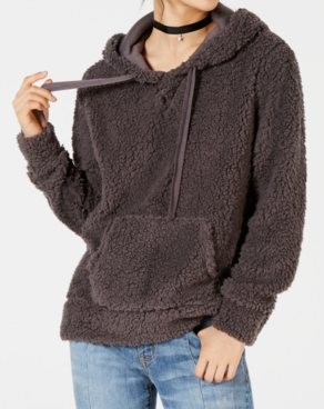 Hippie Rose Juniors' Sherpa Pullover Hoodie, Charcoal, X-Small