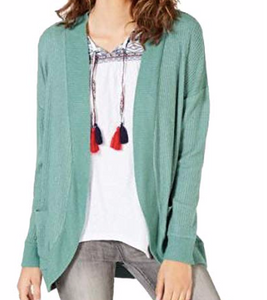 Hippie Rose Juniors' Waffled Cocoon Cardigan, Dusty Jade, Large