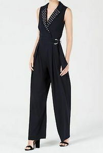 XOXO Juniors' Embellished Belted Jumpsuit, Black, Medium