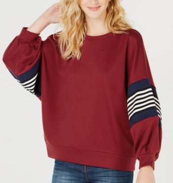Say What? Juniors' Striped Balloon-Sleeve Sweatshirt, Burgundy, Large