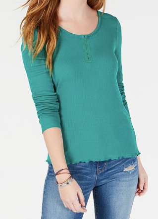 Hippie Rose Juniors' Rib-Knit Henley T-Shirt, Green Beach, Medium