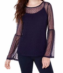 Ultra Flirt by Ikeddi Juniors' Mesh Bell-Sleeve Top, Navy, X-Small