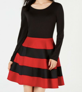 City Studios Juniors' Scoope Neck Fit & Flare Black Red Striped  Dress, Size Medium