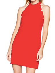 BCX Womens' Scalloped Edge Shift Dress, Red, XX-Small