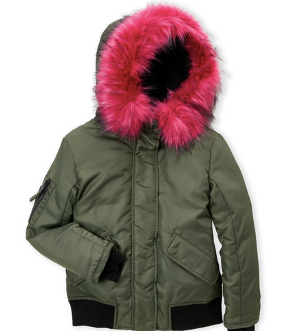 Down S13 New York Girls Igloo Bomber Jacket, Army/Pink, 12