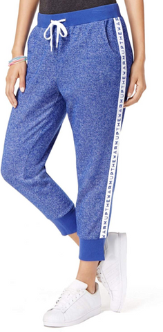 Jessica Simpson The Warm Up Logo Cropped Jogger Pants, Blue, X-Small