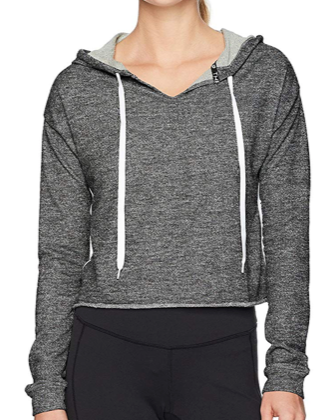 Jessica Simpson Women's Hoodie Elastic, Jet Black Heather, Large
