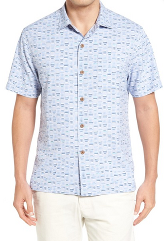 Tommy Bahama Men's Silk Blend Camp Shirt, Fresh Air, Medium