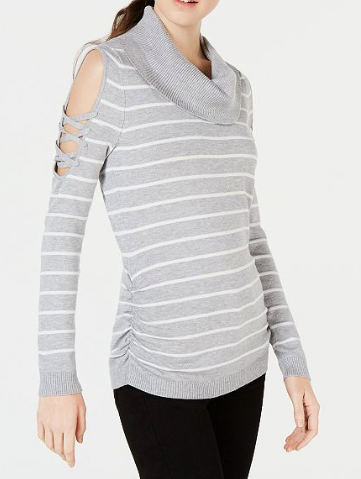 Hooked Up Juniors' Striped Cowlneck Cold-Shoulder Sweater, Grey/White, Medium