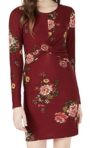 Planet Gold Juniors' Floral-Print Twist Bodycon Dress, Zinfandel Floral, X-Small