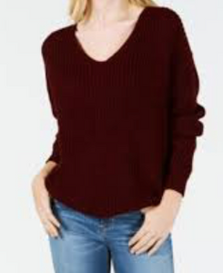 Hooked Up Womens' Turtle Neck Sweater, Wine, Large