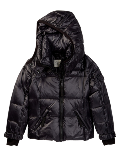 S13 Mogul Metallic Hooded Jacket (Toddler & Little Girls), Black, Size 6