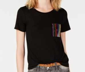 Crave Fame Juniors' Imitation Pearl-Pocket T-Shirt, Black, Small