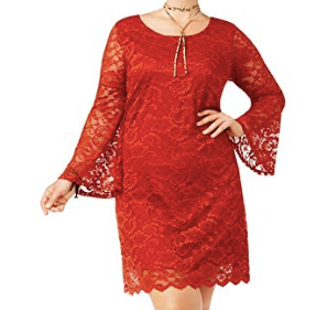ING Women's Plus Size Lace Bell-Sleeve Shift Dress, Rust, 2X