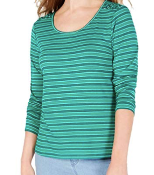 Hippie Rose Juniors' Striped Lace-Up Shoulder Top, Green, Large