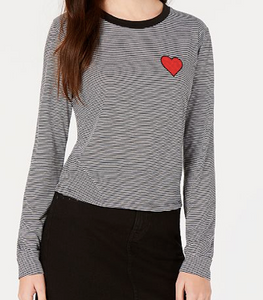 Carbon Copy Heart-Embellished Striped Top, Black/White, Size X-Small