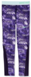 Nike Girls' Pro Cool Tights, Purple Leggings, Medium