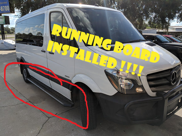 The Benz sprinter gets runnng board and window tinted