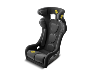 Front view of Momo Daytona Evo seat with head restraint system