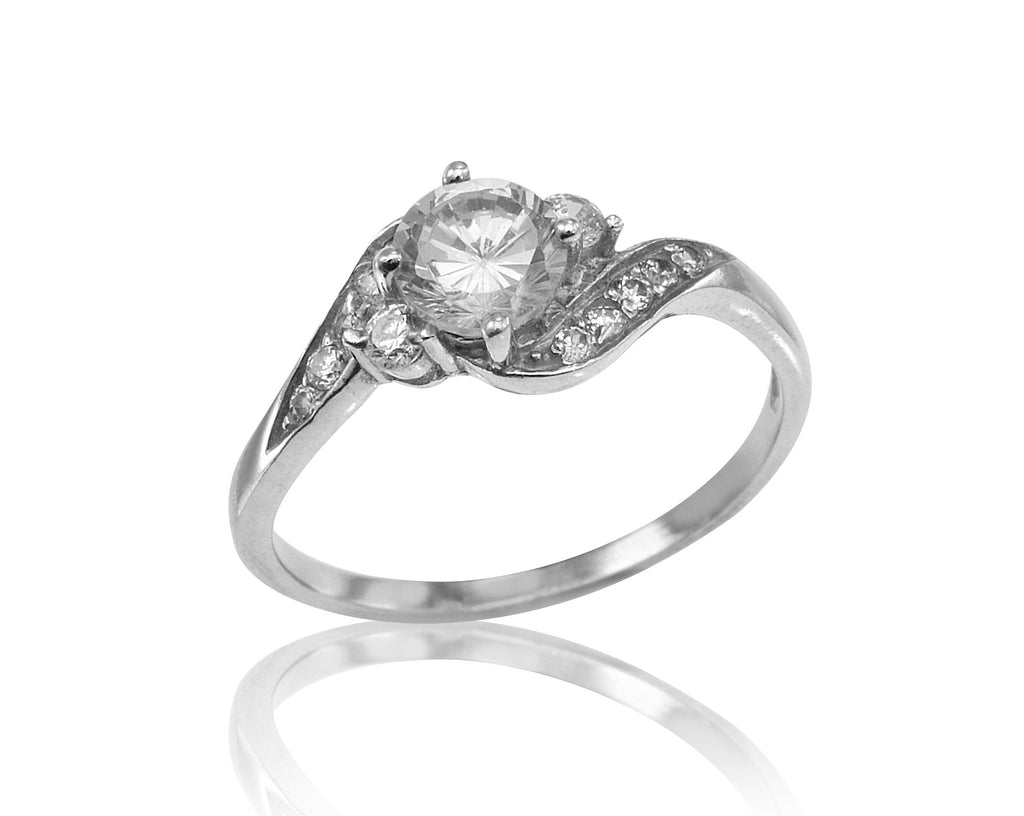 0.66ct Round Diamond Engagement Ring in 14k White Gold, Antique Style Diamond Engagement Ring, Vintage Inspired Diamond Ring (0.66 ct. tw.)