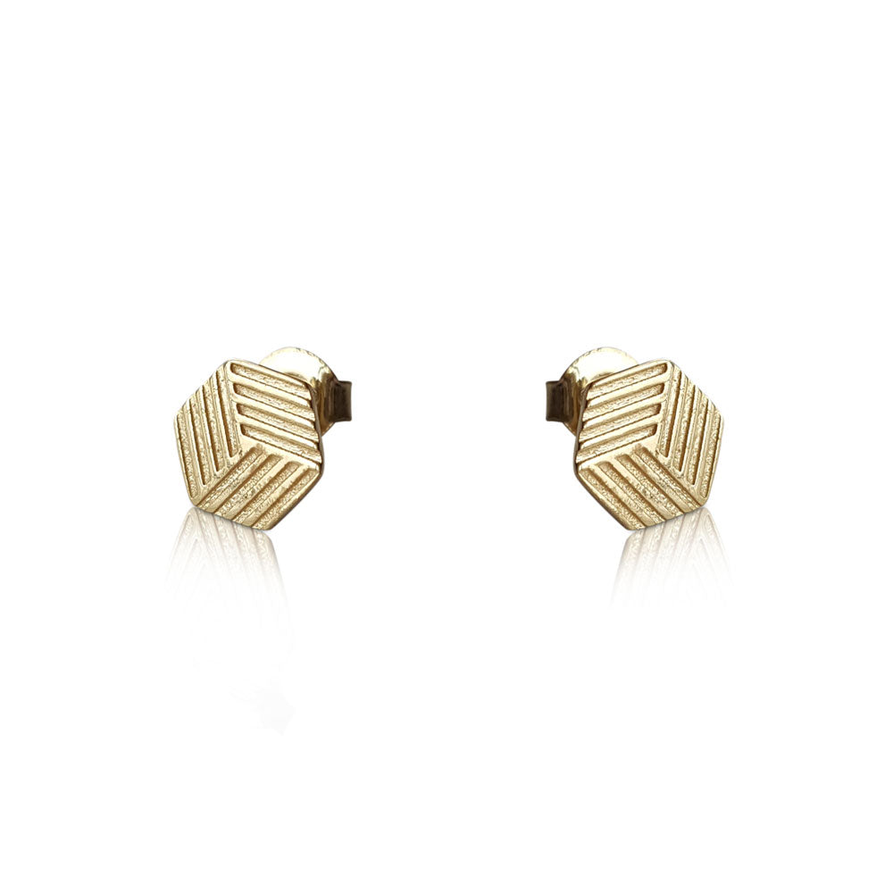14k Solid Gold Hexagon Studs, Minimalist Earrings, 14K Hexagon Stud Earrings, Hexagon Stud Earrings, Hexagon Earrings, 6 Sided Polygon Earrings