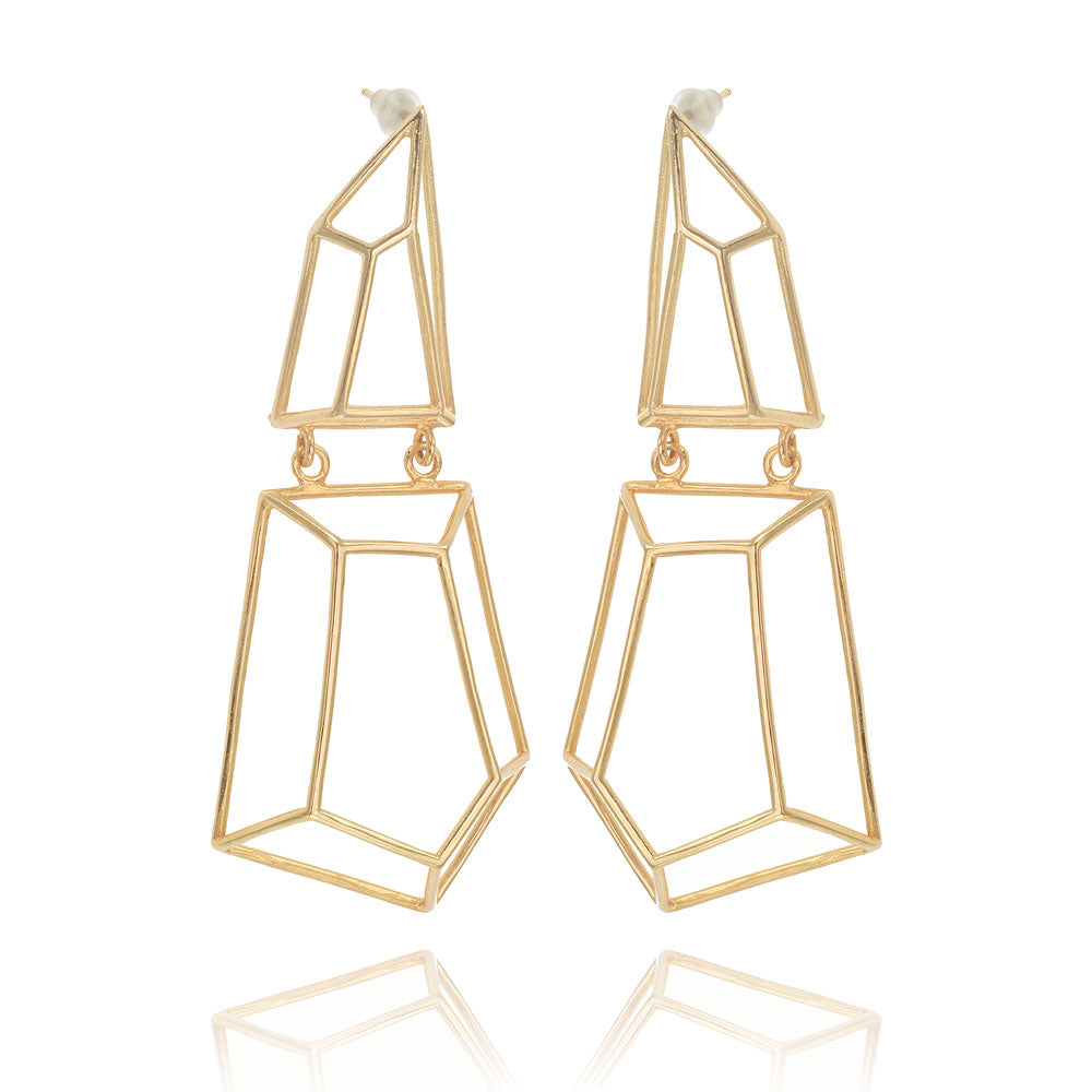 14K geometric  earrings,  geometric gold earrings, LONG GOLD EARRINGS, long geometric earrings, fine jewelry, Long Geometric Gold Earrings, 14K Polygon Earrings, 14K Gold Earrings, 14K Yellow Gold stud Earrings, Solid gold, Minimalist gold earrings