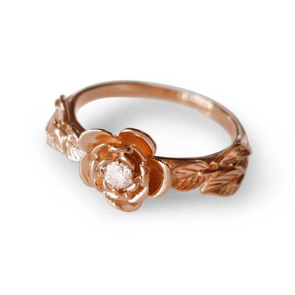 14k rose gold flower ring diamond rose engagement ring, diamond flower Ring, rose ring, 14K diamond Leaves Ring,  14 KARAT vine ring,  Art Nouveau Ring