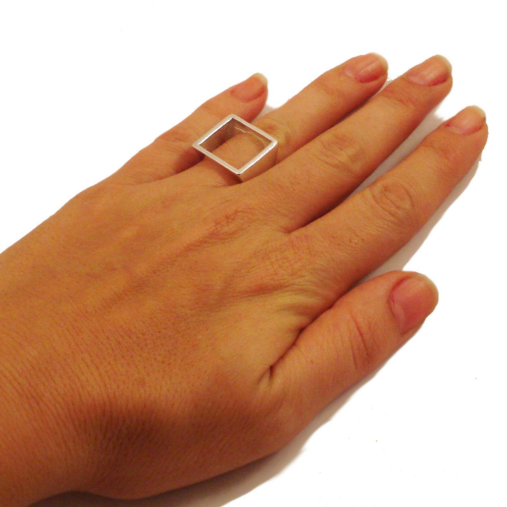 white gold open square ring for her, ring corner, coolest ring online, most desirable ring, geometric minimalist ring