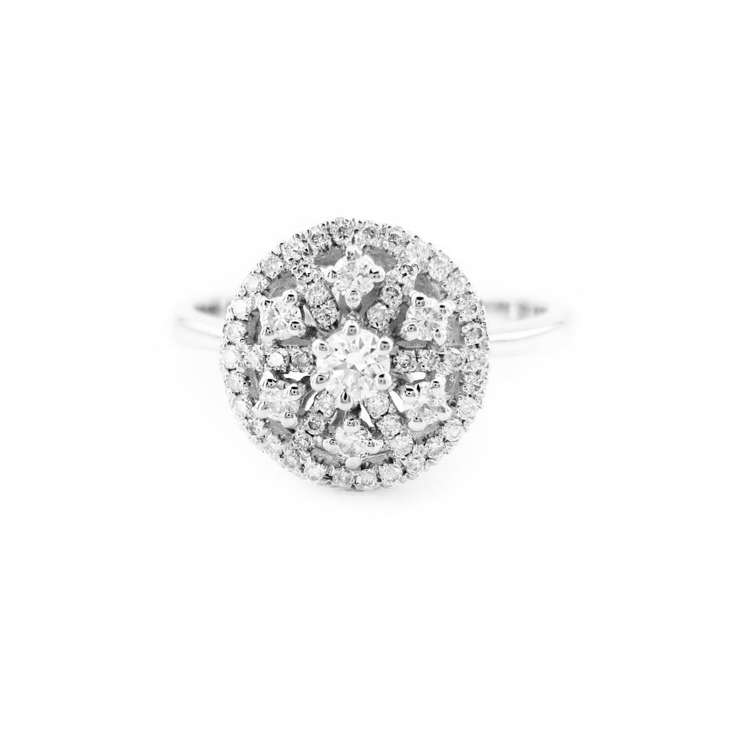 Round Halo Engagement Ring in 14k White Gold, Cluster Floral Ring, Starburst Floral Diamond Halo Engagement Ring (0.49 ct. tw.)