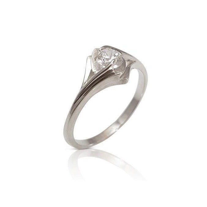 Art Deco inspired Diamond Ring, Geometric Style Diamond Ring, Solitaire Diamond Engagement Ring, Bridal Diamond Ring (0.25 ct. tw.)