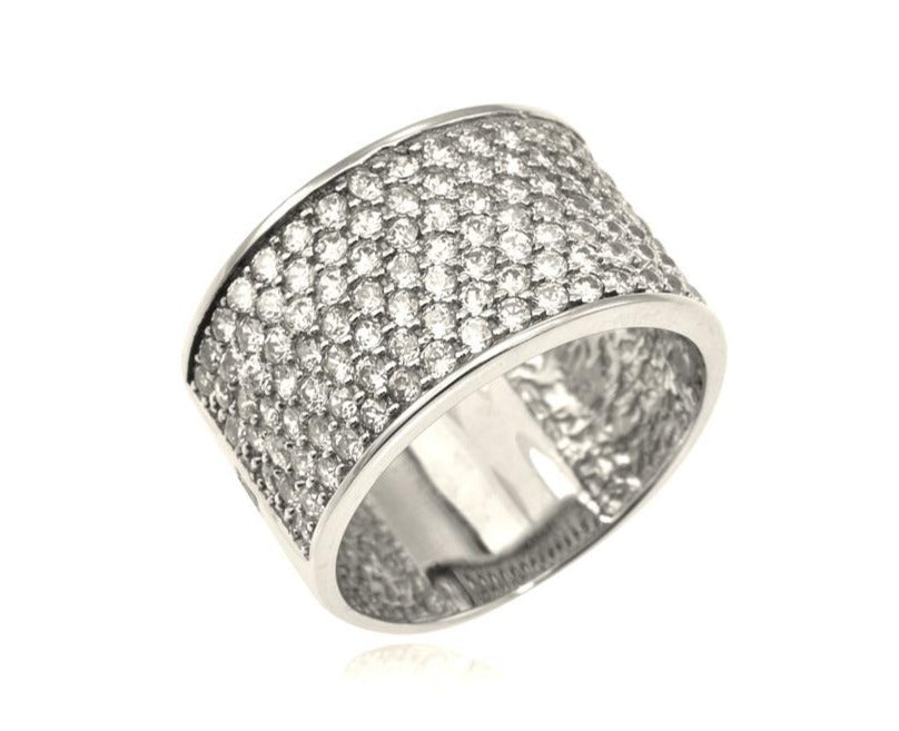 Seven Row Pavé Diamond Ring in 14k White Gold (1.95 ctw)