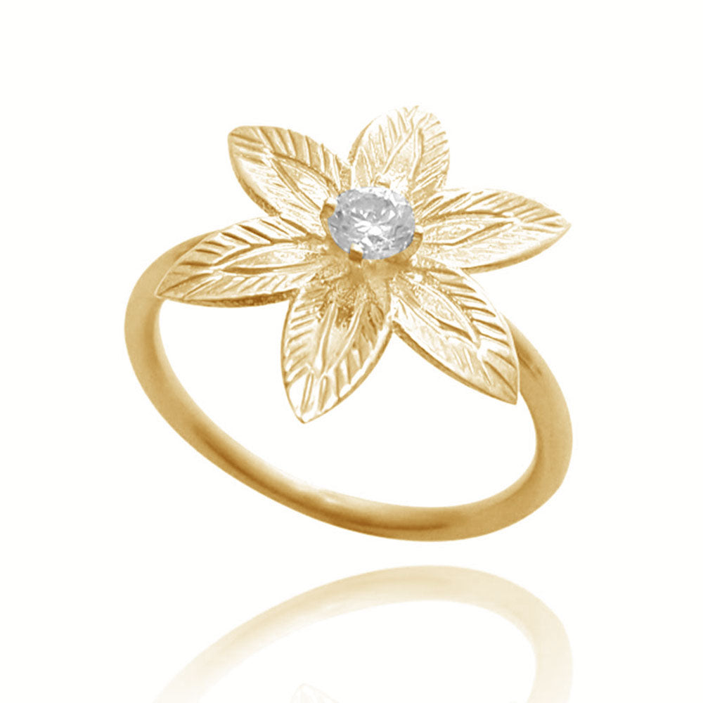 Diamond Flower Engagement Ring in 14K Yellow gold