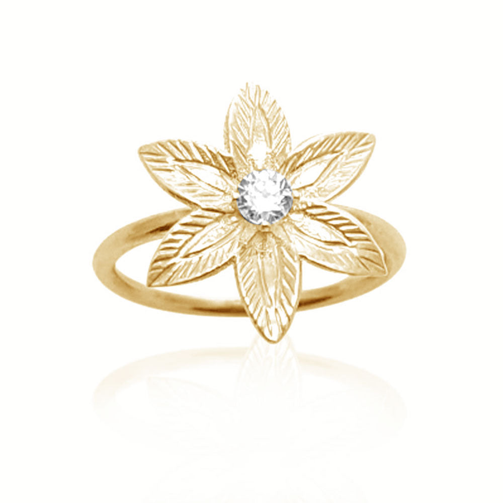 Diamond Flower Engagement Ring in 14K yellow gold, diamond ring, flower engagement ring