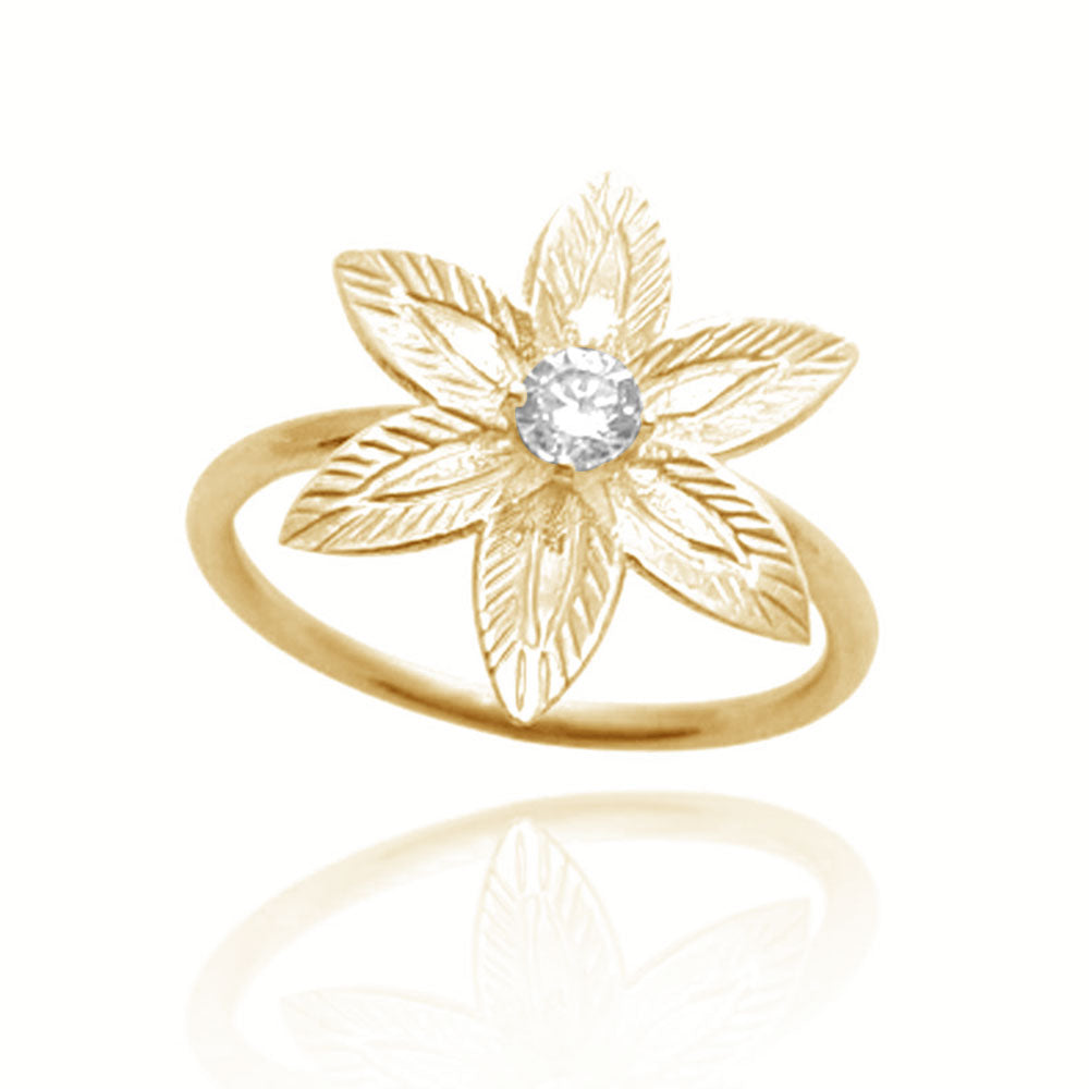 Diamond Flower Engagement Ring in 14K yellow gold, flower engagement ring