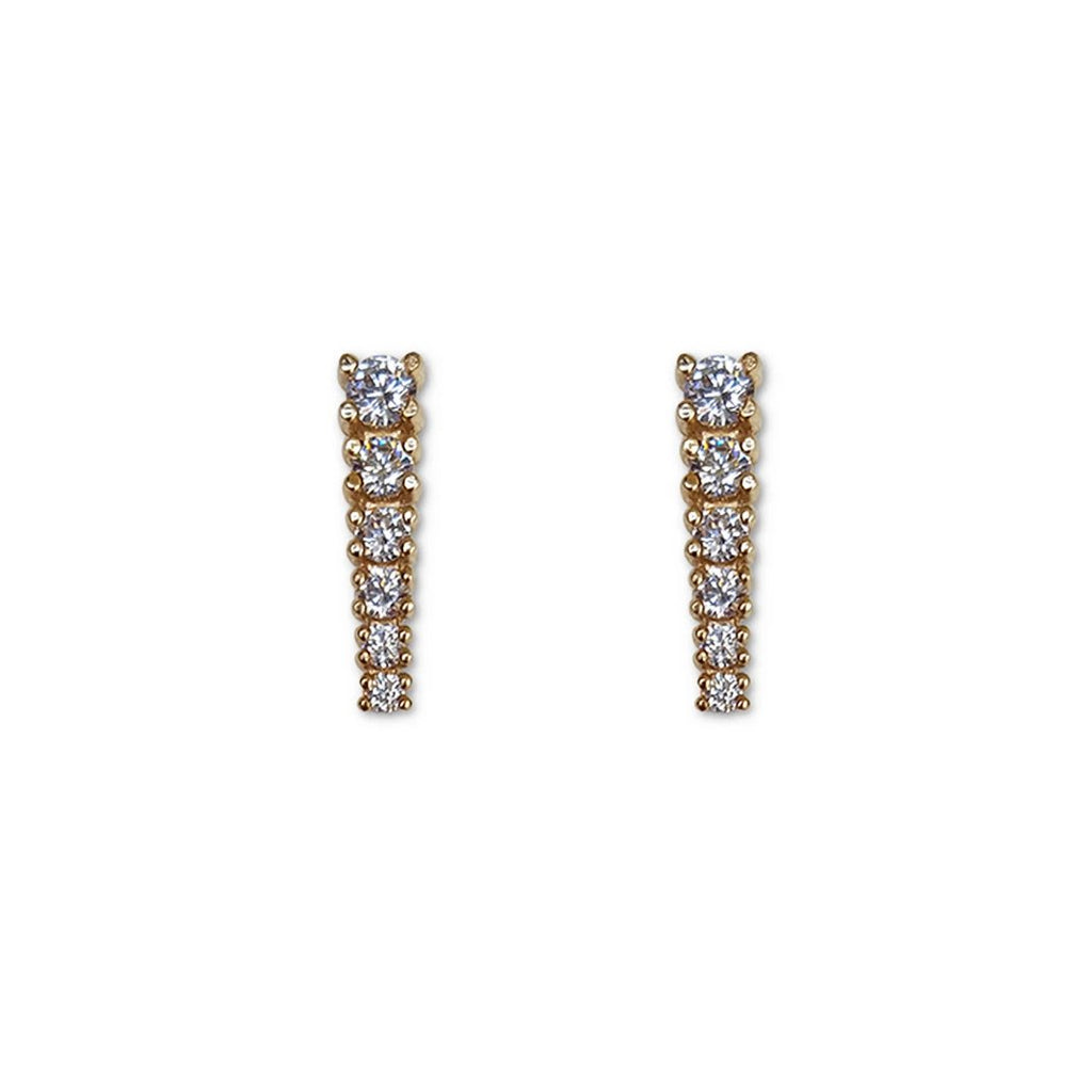 Diamond Graduated Earrings in 14K White Gold, Diamond Studs, pave Diamond bridal studs, pave diamond studs, diamond earrings for her