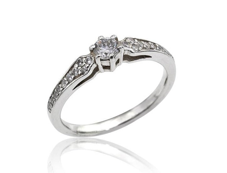 Vintage Inspired diamond engagement ring in 14k white gold, Antique Style Diamond Engagement Ring, 0,33ct Art Deco Style Diamond Ring