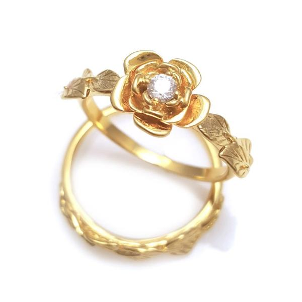 flower and leaves  matching rings, diamond Leaves Ring, wedding set,   diamond Leaves Ring, vine ring,  leaves stackable rings, Antique,  engagement set, diamond flower ring with diamond and matching leaf ring, 18k yellow gold bridal flower wedding set, rose with diamond and matching leaves ring, matching leaves ring set