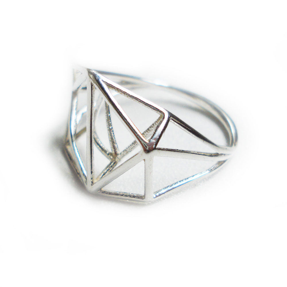 geometric silver ring, geometric jewelry, polygon silver ring, designer ring, triangle ring, hexagon ring, triangle ring, geo silver ring, geometric structure ring, for her