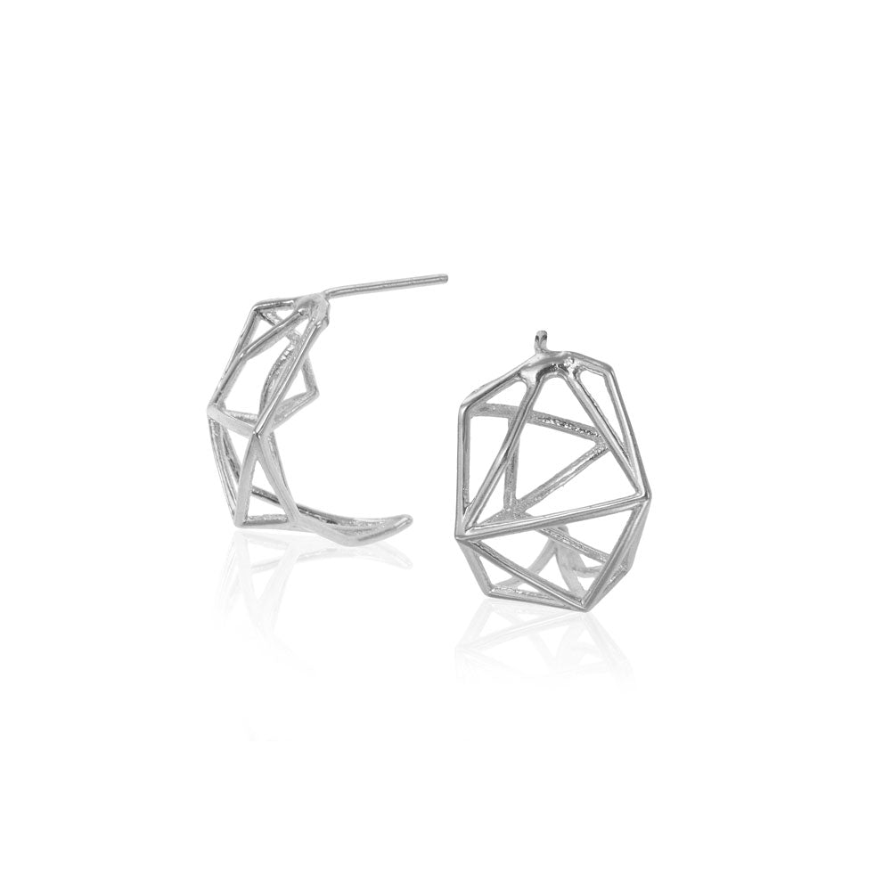 Geometric Stud Earrings, 14K white Gold Geometric Stud Earrings, Geometric studs Earrings, Minimalist Earrings