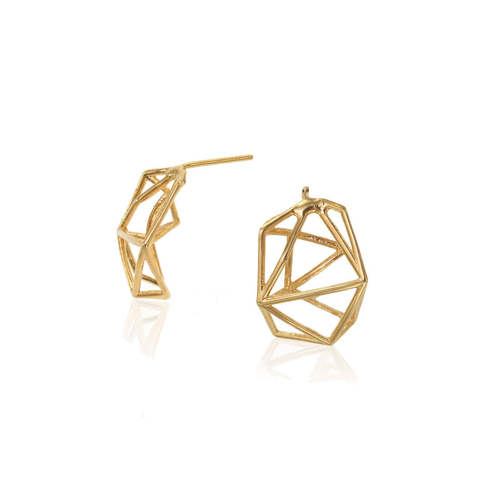 Geometric Stud Earrings, 14 Karat Yellow Gold Geometric Stud Earrings, Geometric Earrings, Minimalist Earrings