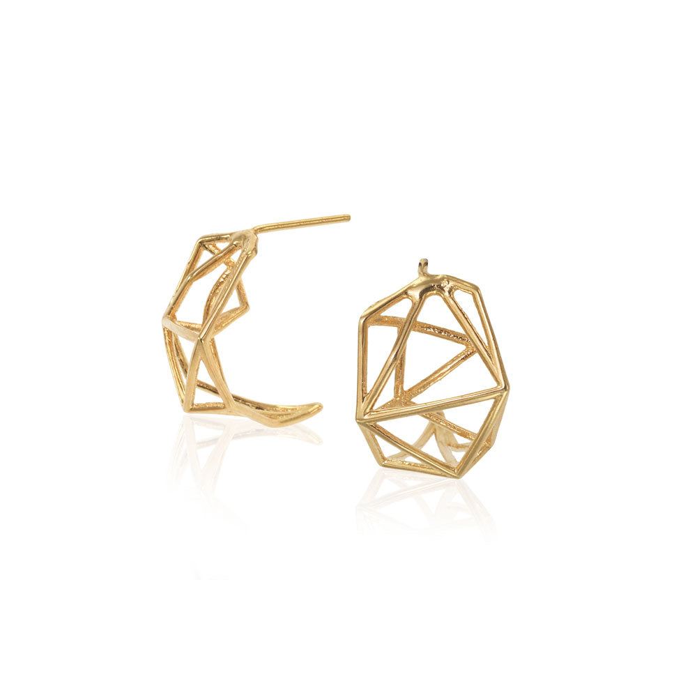 Geometric Stud Earrings, 14 Karat Yellow Gold Geometric Stud Earrings, Geometric studs Earrings, Minimalist Earrings