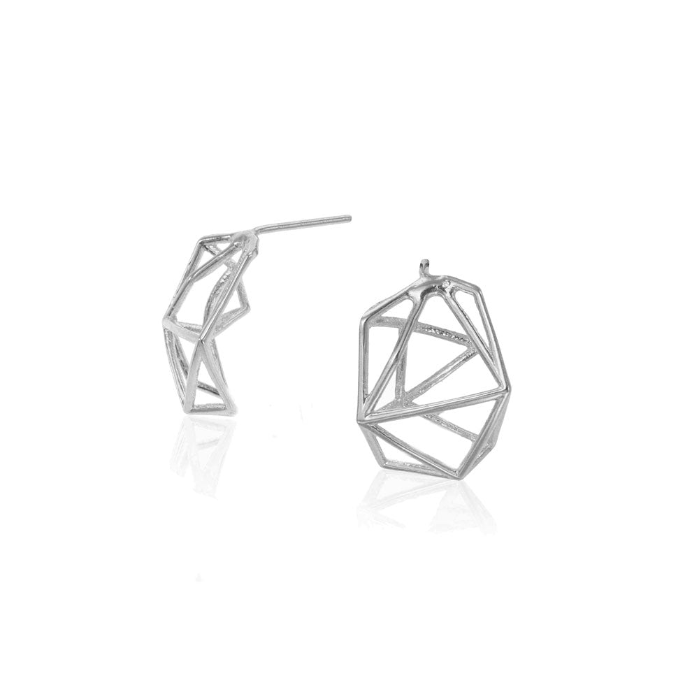 Geometric Stud Earrings in 14 Karat Yellow Gold / Single