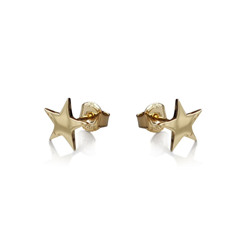 Gold Star Stud Earrings, Solid Gold star Studs, Stud Earrings, Minimalist Earrings, Star Stud Earrings, 14 karat Gold Post Earrings